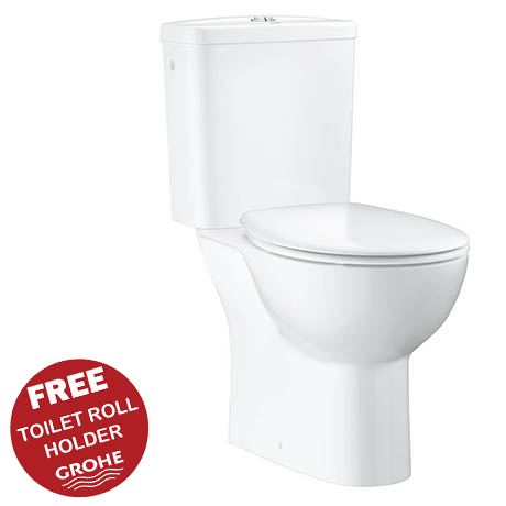 Grohe Bau Rimless Close Coupled Toilet with Soft Close Seat (Side Inlet)