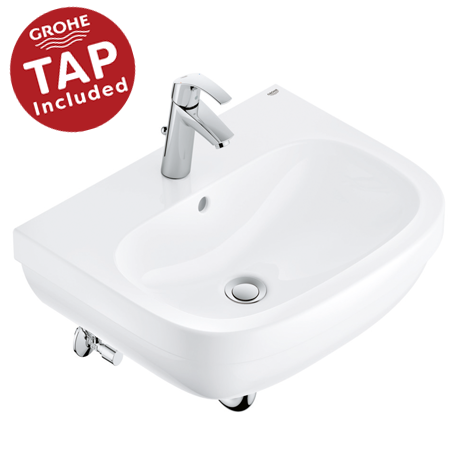 Grohe Euro Ceramic 600mm Complete Basin Package (Euro Smart Tap + Waste Included)