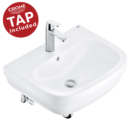 Grohe Euro Ceramic 600mm Complete Basin Package (Cosmo Smart Tap + Waste Included)
