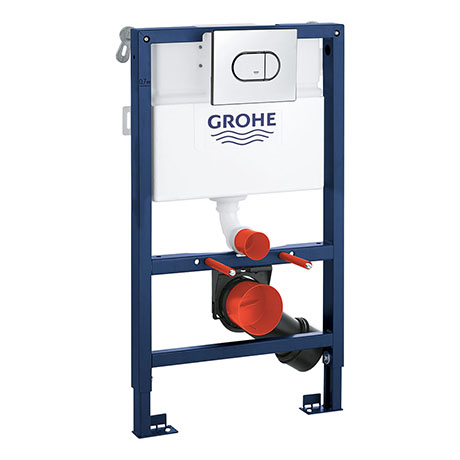 Grohe Rapid SL 0.82m 3 in 1 Set Low Noise Support Frame for Wall Hung WC with Arena Flush Plate - 39