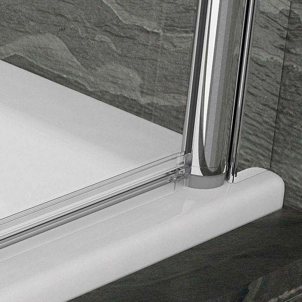 KUDOS Inspire 6mm Single Panel Bath Screen with Towel Rail profile large image view 2
