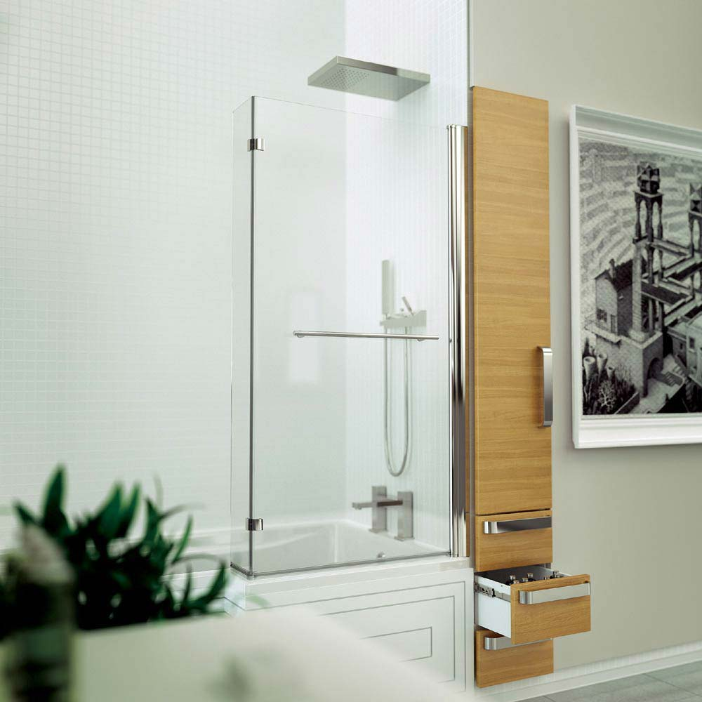 KUDOS Inspire L-Shaped Showerbath Screen with Towel Rail profile large image view 3