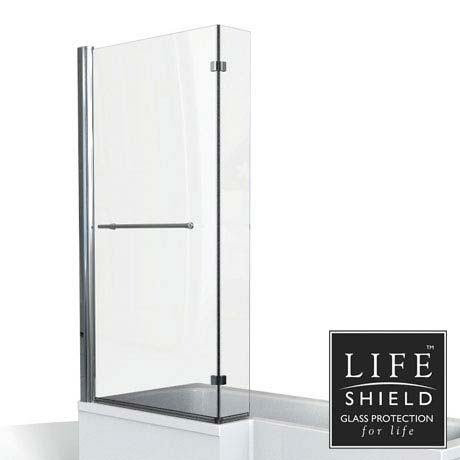KUDOS Inspire L-Shaped Showerbath Screen with Towel Rail