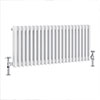 Keswick 450 x 1008mm Cast Iron Style Traditional 3 Column White Radiator profile small image view 1