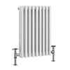 Keswick 600 x 423mm Cast Iron Style Traditional 3 Column White Radiator profile small image view 1