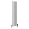 Keswick 1800 x 376mm Cast Iron Style Traditional 3 Column White Radiator profile small image view 1