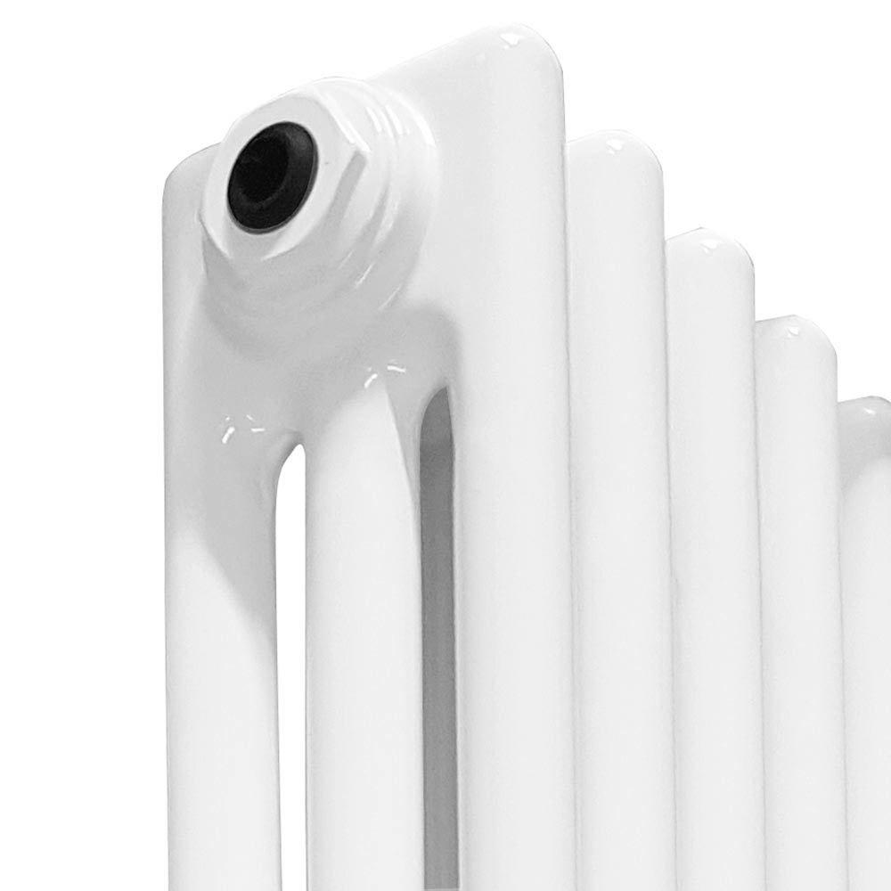 Keswick Cast Iron Style Traditional 3 Column White Radiator (600 x 643mm)  Profile Large Image