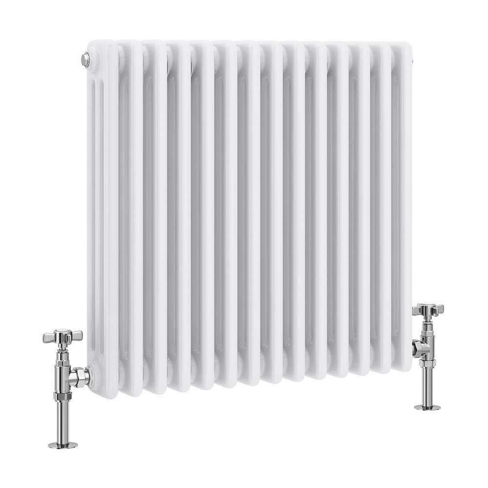 Keswick Cast Iron Style Traditional 3 Column White Radiator (600 x 643mm) profile large image view 1