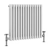 Keswick 600 x 643mm Cast Iron Style Traditional 3 Column White Radiator profile small image view 1