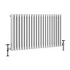 Keswick 600 x 999mm Cast Iron Style Traditional 3 Column White Radiator profile small image view 1