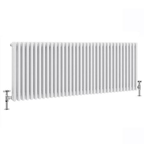 Keswick 600 x W1578mm Cast Iron Style Traditional 3 Column White Radiator