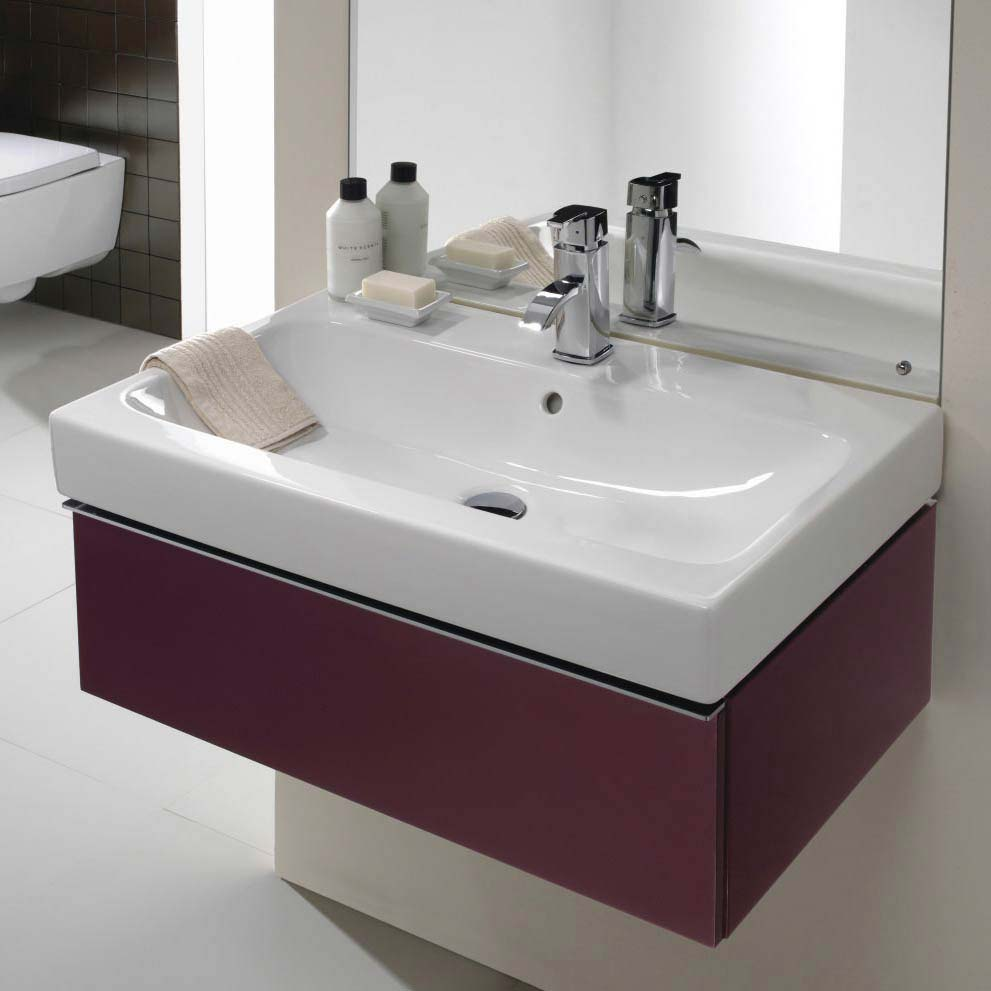Twyford 3D 595mm Single Drawer Vanity Unit with Basin - Plum profile large image view 2