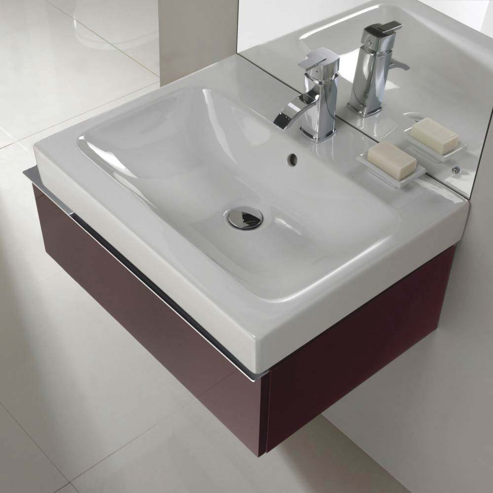 Twyford 3D 595mm Single Drawer Vanity Unit with Basin - Plum profile large image view 3