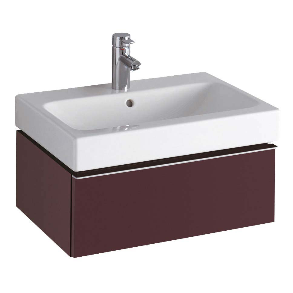 Twyford 3D 595mm Single Drawer Vanity Unit with Basin - Plum Large Image