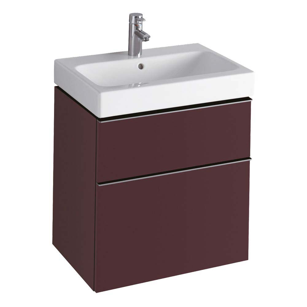 Twyford 3D 595mm Two Drawer Vanity Unit with Basin - Plum profile large image view 1