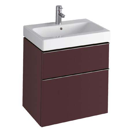 Twyford 3D 595mm Two Drawer Vanity Unit with Basin - Plum