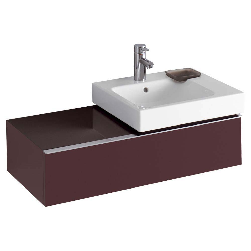 Twyford 3D 890mm Single Drawer Vanity Unit with Basin - Plum Large Image