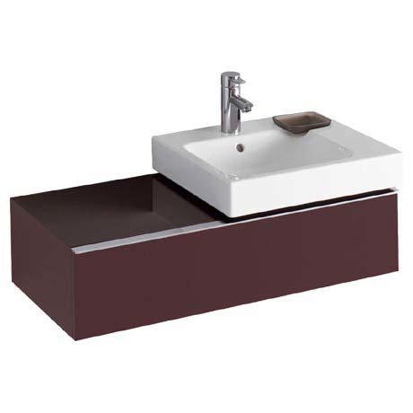 Twyford 3D 890mm Single Drawer Vanity Unit with Basin - Plum
