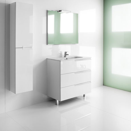 Roca - Victoria-N Unik 3 Drawer Vanity Unit with 600mm Basin - 4 x Colour Options Profile Large Image