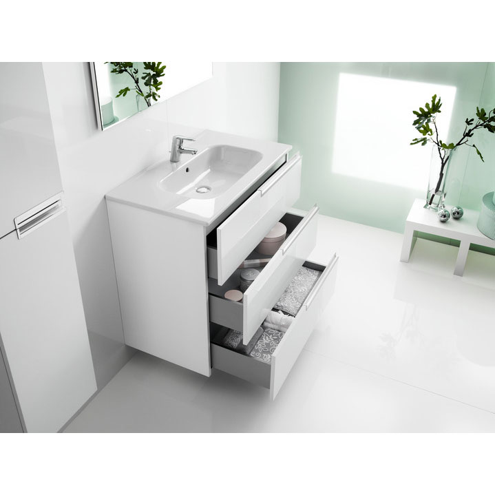 Roca - Victoria-N Unik 3 Drawer Vanity Unit with 600mm Basin - 4 x Colour Options Feature Large Image