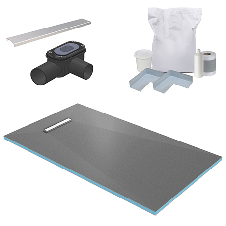300 Linear 1600 x 900 Wet Room Walk In Rectangular Tray Former Kit (End Waste)