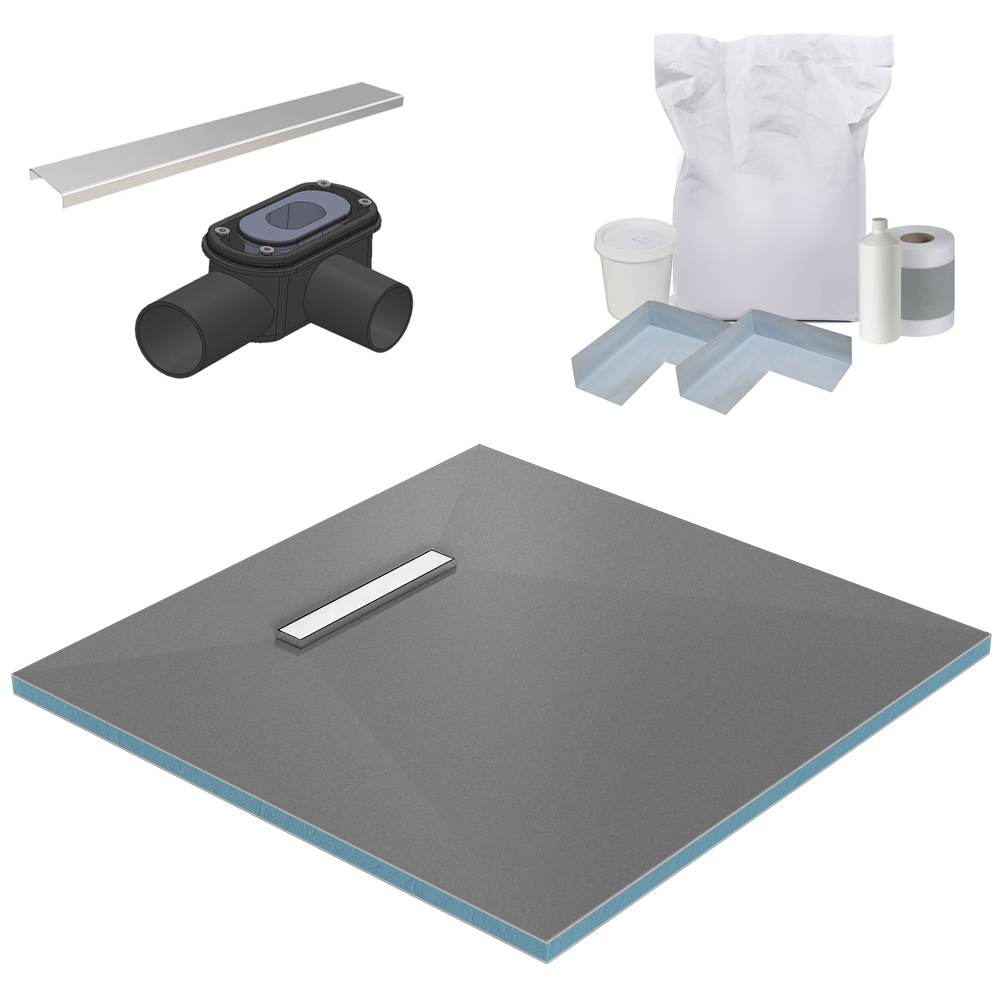 300 Linear 900 x 900 Wet Room Walk In Square Tray Former Kit (End Waste)