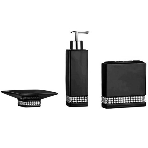 3 piece black radiance ceramic bathroom accessories set at victorian plumbing uk - Black Bathroom Accessories Uk