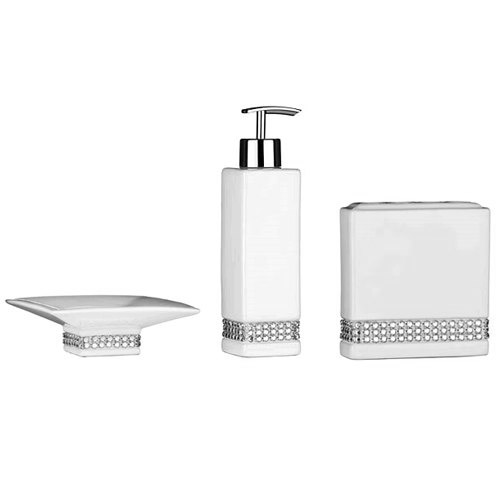 white bathroom accessories uk 3 piece white radiance ceramic bathroom accessories set at - White Bathroom Accessories Ceramic