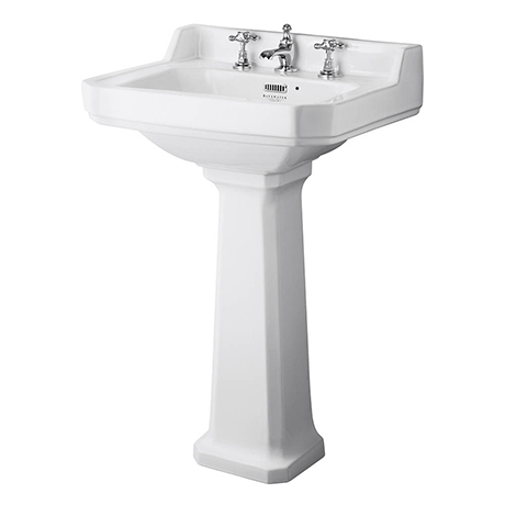 Bayswater Fitzroy Comfort Height Traditional 3TH Basin & Full Pedestal