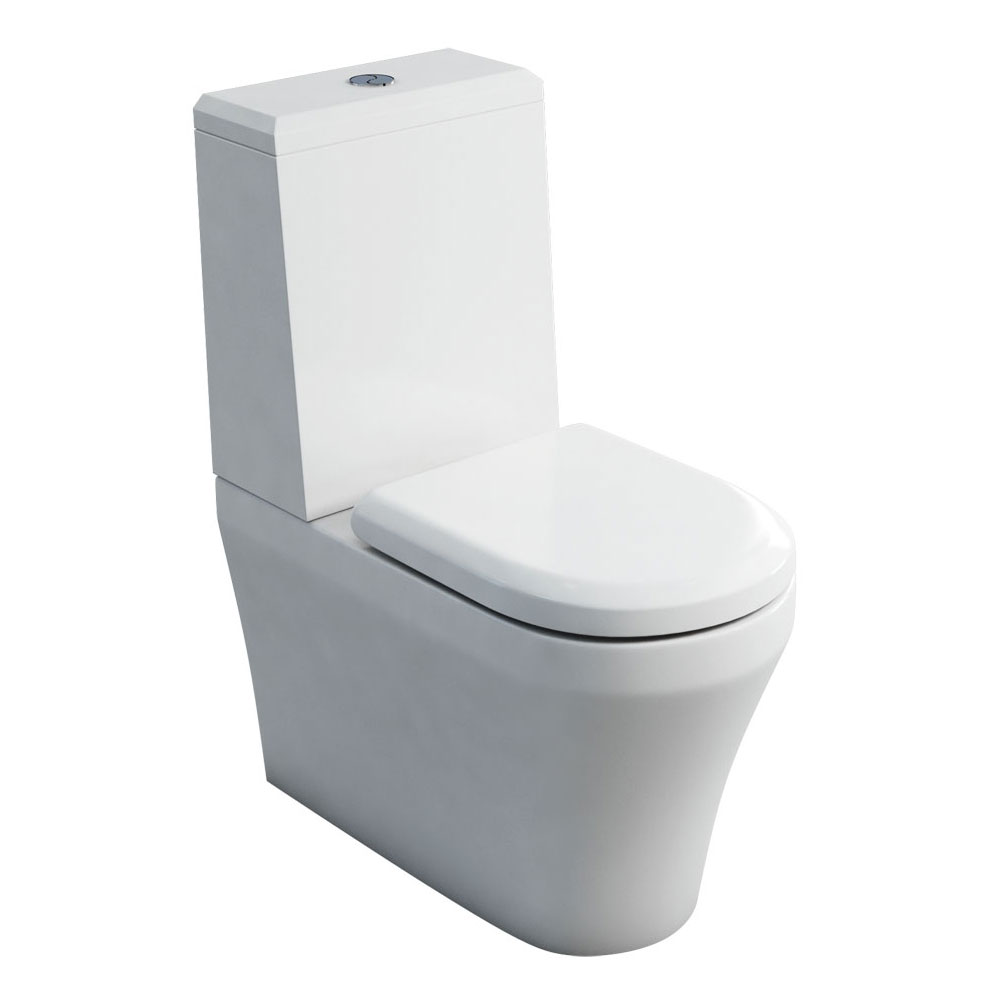 Britton Bathrooms - Fine S40 Close Coupled Toilet with Angled Lid Cistern & Soft Close Seat Large Im