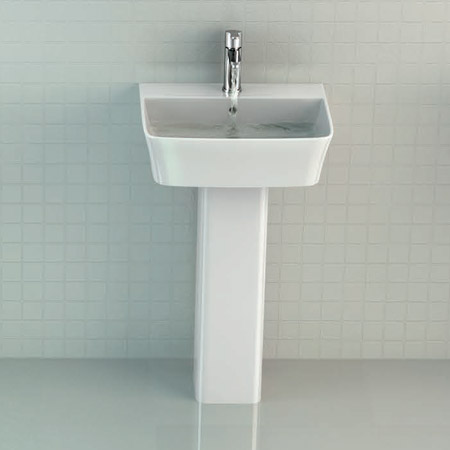 Britton Bathrooms - Tall S48 Washbasin with Round Full Pedestal - 2 Size Options Profile Large Image