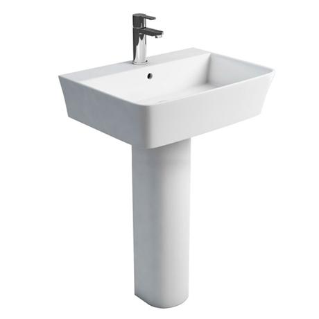 Britton Bathrooms - Tall S48 Washbasin with Round Full Pedestal - 2 Size Options