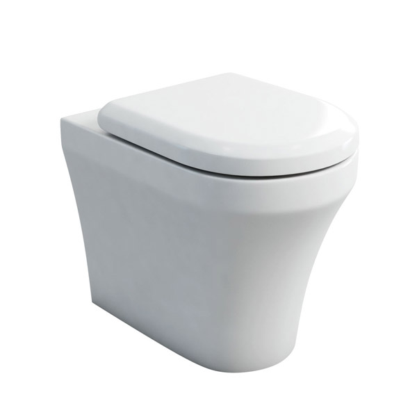 Britton Bathrooms - Fine S40 Back to wall WC with Soft Close Angled Seat Large Image