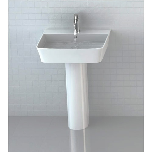 Britton Bathrooms - Fine S40 Washbasin with Round Full Pedestal - 2 Size Options Profile Large Image