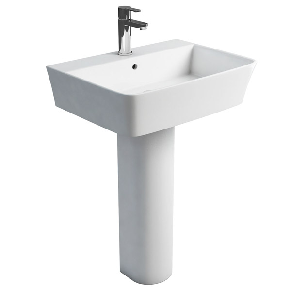 Britton Bathrooms - Fine S40 Washbasin with Round Full Pedestal - 2 Size Options Large Image