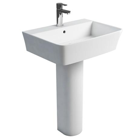 Britton Bathrooms - Fine S40 Washbasin with Round Full Pedestal - 2 Size Options