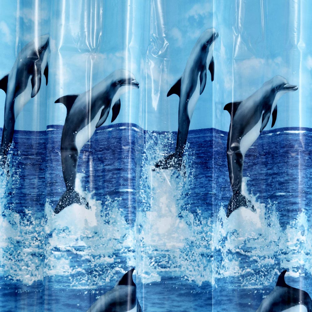 Aqualona Dolphins PEVA Shower Curtain - W1800 x H1800mm - 40119 profile large image view 2