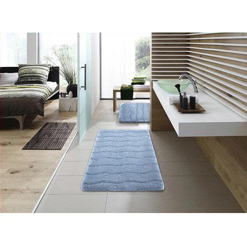 Kleine Wolke - Medina Organic Cotton Bath Mat - Light Blue - Various Size Options Feature Large Image