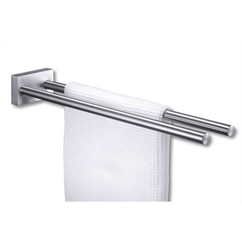 Zack Fresco Towel Rail with Two Bars - Stainless Steel - 40197 Large Image