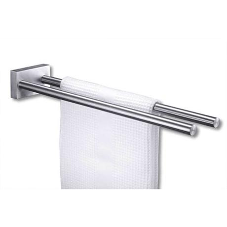 Zack Fresco Towel Rail with Two Bars - Stainless Steel - 40197