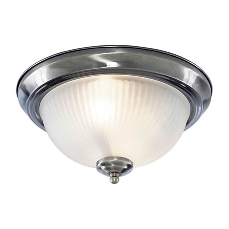 Searchlight American Diner Chrome Flush Fitting with Acid Ribbed Glass - 4042
