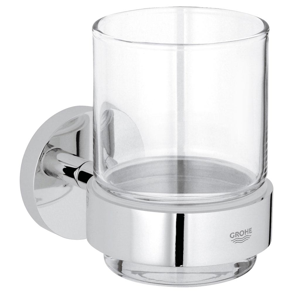 Grohe Essentials Glass Tumbler with Holder - 40447001 Large Image