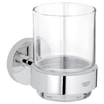 Grohe Essentials Glass Tumbler with Holder - 40447001 Medium Image