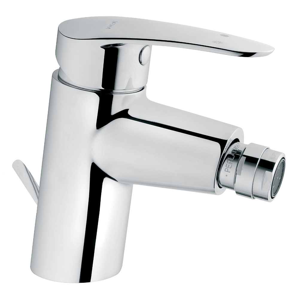 Vitra - Dynamic S Monobloc Bidet Mixer with Pop-up Waste - Chrome - 40952 profile large image view 1