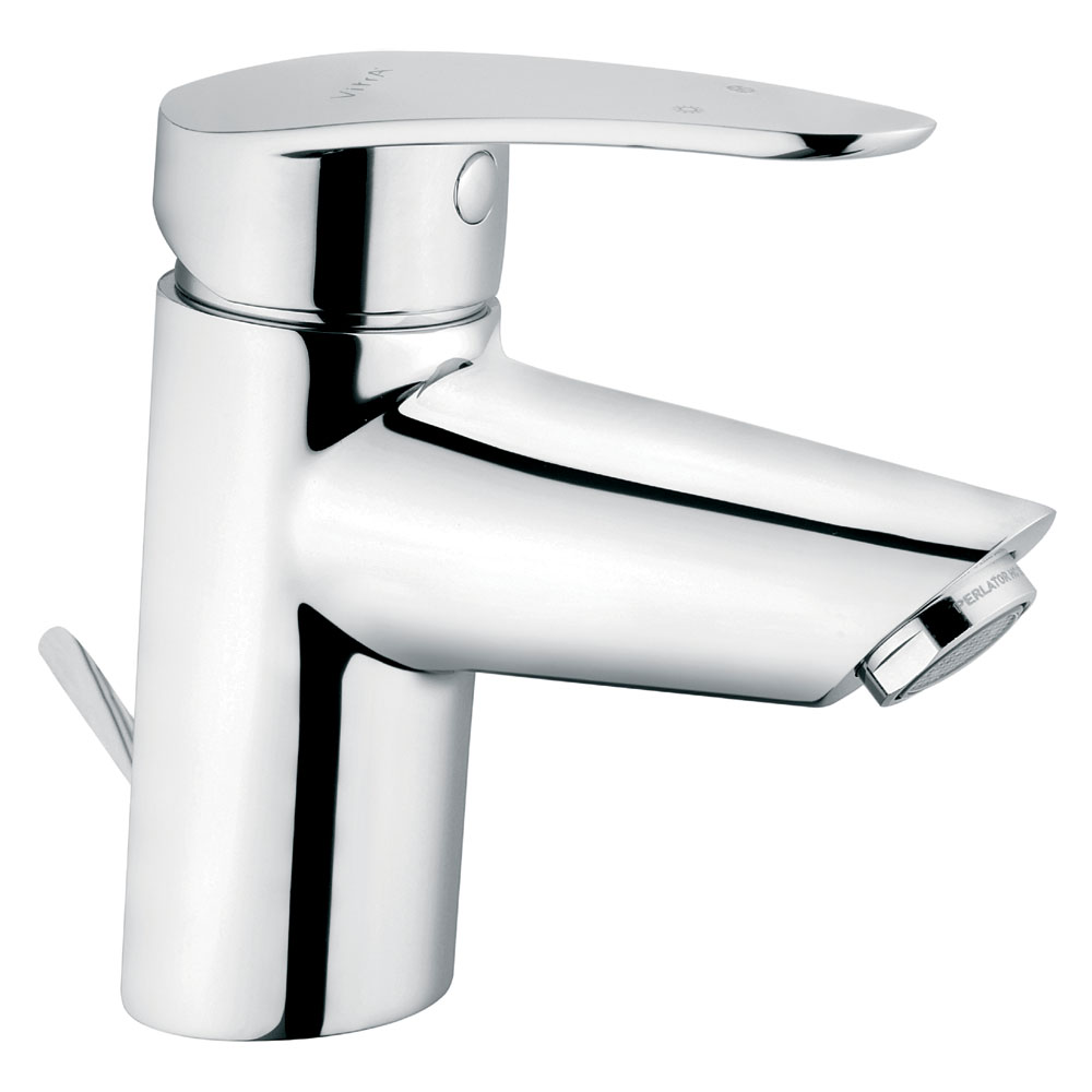 Vitra - Dynamic S Monobloc Basin Mixer with Pop-up Waste - Chrome - 40962 profile large image view 1