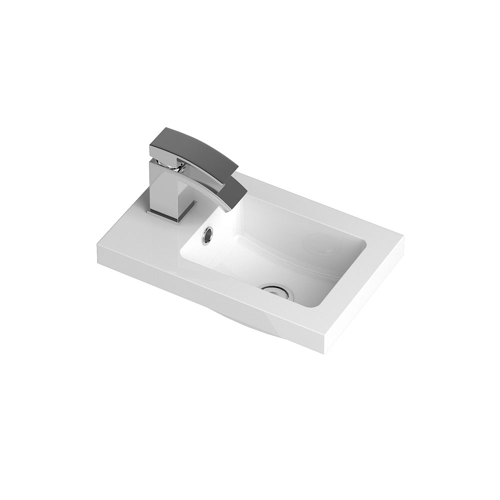 Apollo 400mm Compact Wall Hung Vanity Unit (Gloss Grey - Depth 255mm) Feature Large Image