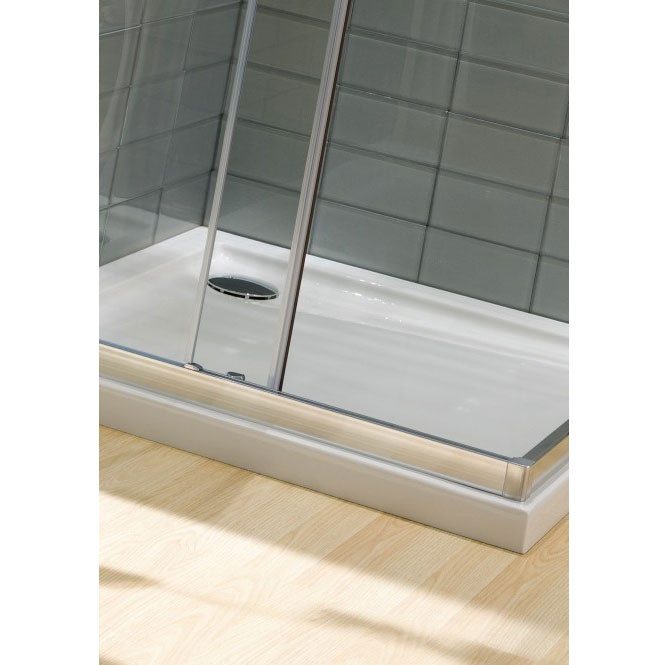 Simpsons - Square Low Profile Acrylic Shower Tray with Waste - 5 Size Options Profile Large Image