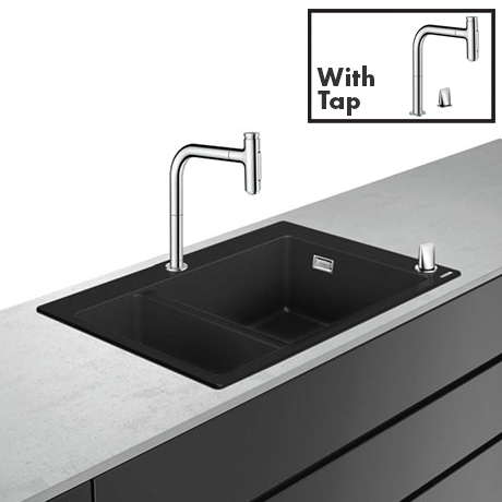 hansgrohe C51-F635-09 1.5 Bowl Kitchen Sink & Tap Bundle - 43220000