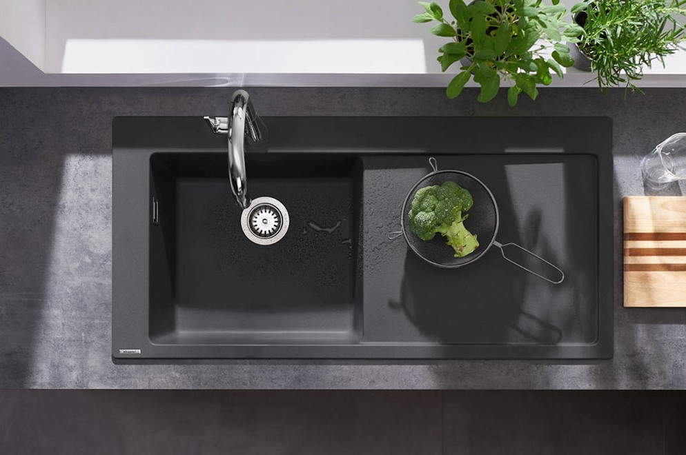 hansgrohe S5110-F450 1.0 Bowl Built-in Kitchen Sink with Drainer - Graphite Black - 43330170