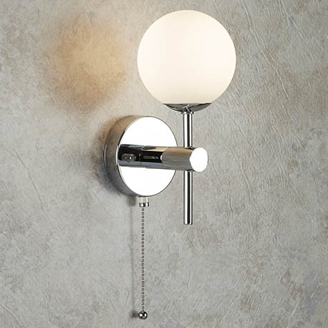 Searchlight Global Chrome Wall Light with Opal Glass Shade - 4337-1-LED